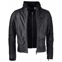 Rocknb Leather hood jacket