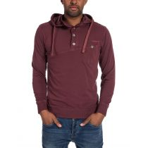 TimeZone-Hooded longsleeve shirt -Wine Red