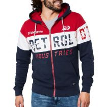 Petrol printed zip hood 342-Red