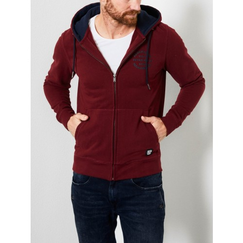 Petrol zip hood 302-Wine red