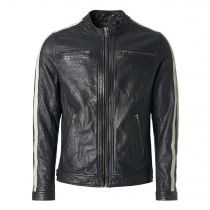 Leather jacket Racer-Black rub off
