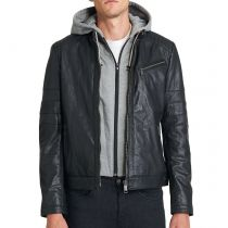 Rocknb Leather hood jacket-Rock