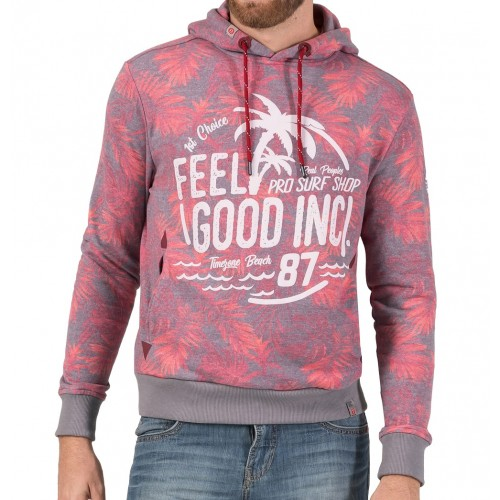TZ Hawaii Print Hoodie-Red jungle