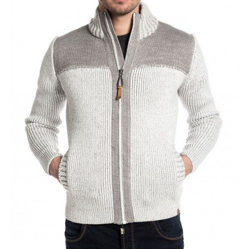 TZ Stanley knit jacket-White/grey