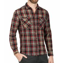 TZ washed flanel shirt 10065-Black red