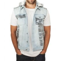 Urban hooded camo denim vest-Blue