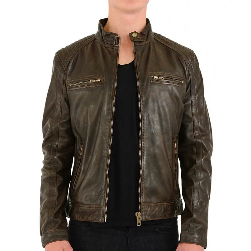 Rocknb Leather jacket-Advance-Brown