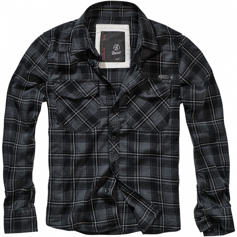 Checkshirt Flanel-Grey-black