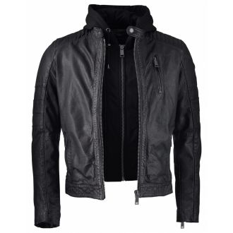 Rockandblue Leather hood jacket