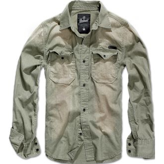 Hardee Denim Shirt-OliveGrey