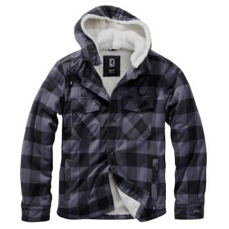 Hooded Lumberjacket-Black/grey