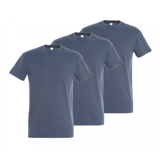 3-pack T-shirts - Over sizes 4XL-5XL -Denim blue