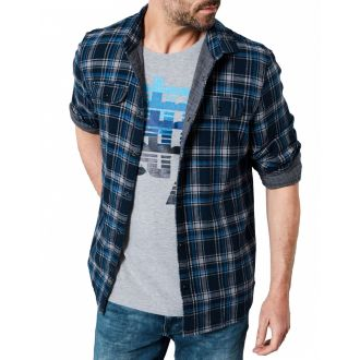 Petrol heavy cotton checkshirt 419-Capri
