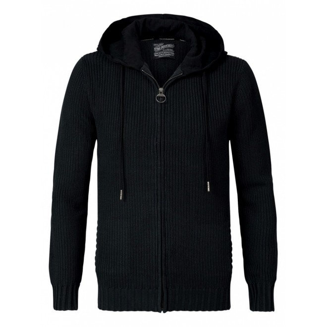 Petrol  knit hoodjacket 254-Black