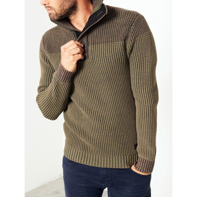 Petrol-Knit Pullover 207-Olive