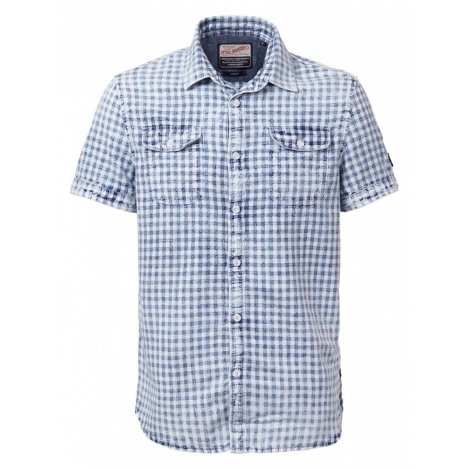 Petrol shortsleeve shirt 444-Faded indigo