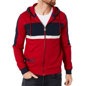 Petrol printed zip hood 305-Red
