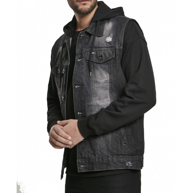 Urban hooded denim vest-Black