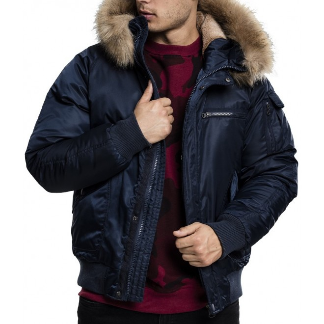 Urban fur bomber Jacket-Navy