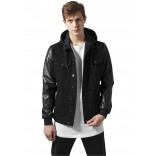 Urban-Hooded Pu Jacket-1257-Black